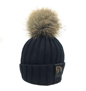 Black & Natural Bobble Beanie