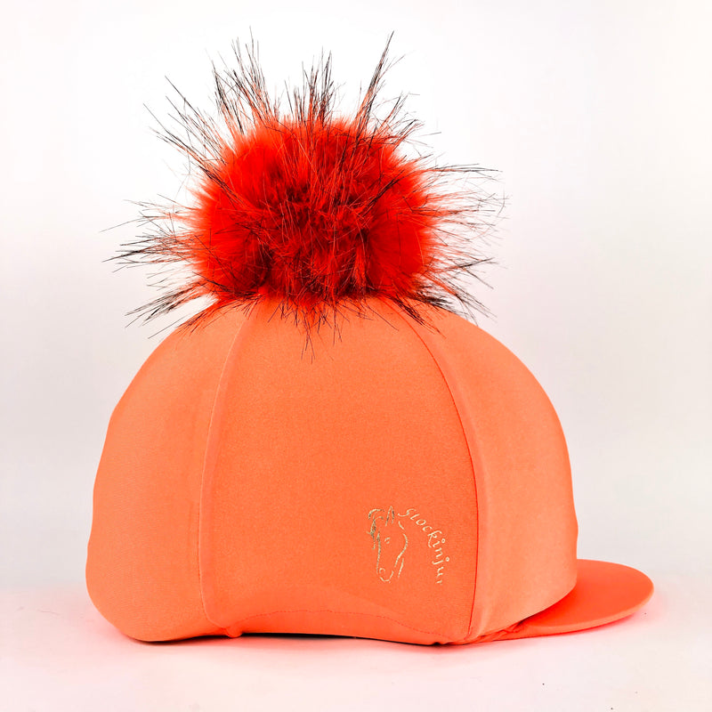 Sunset Orange Big Pom Lycra Faux Fur Hat Covers