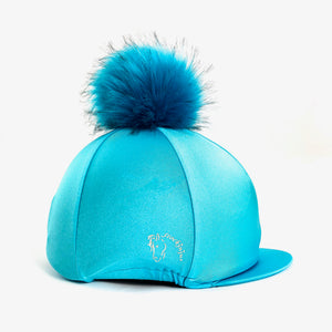 Teal Big Pom Lycra Faux Fur Hat Covers