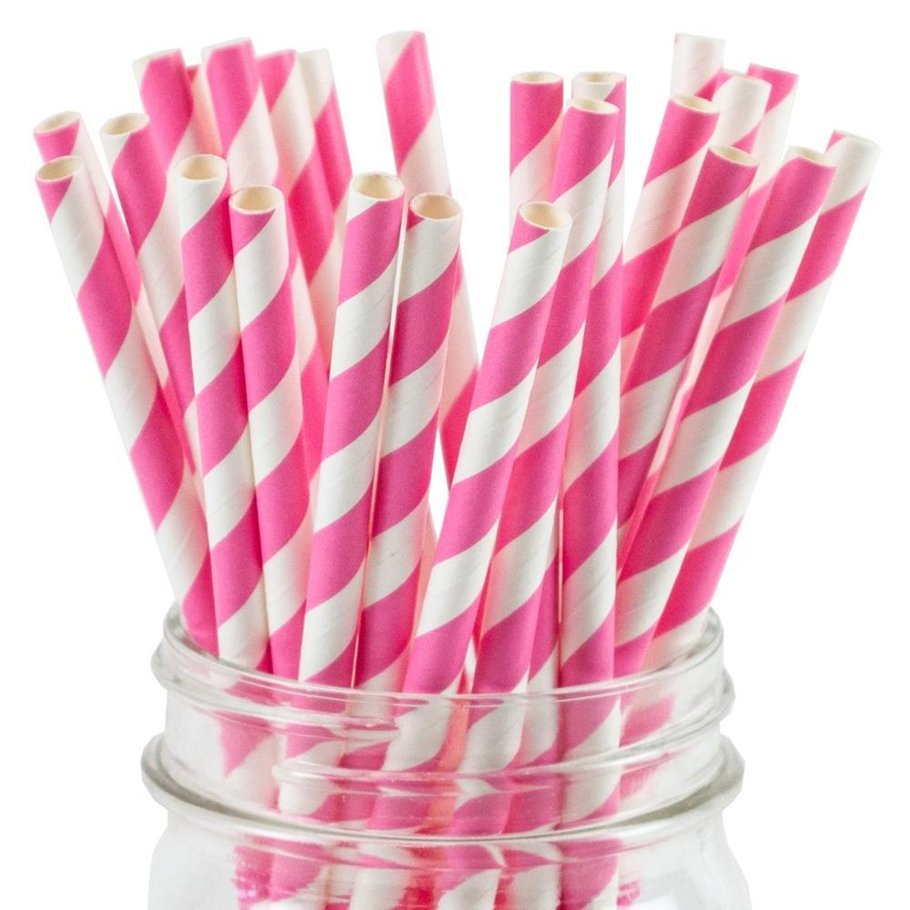 UNIQ® Pink Striped Paper Straws