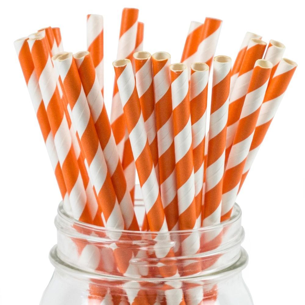 UNIQ® Orange Striped Paper Straws