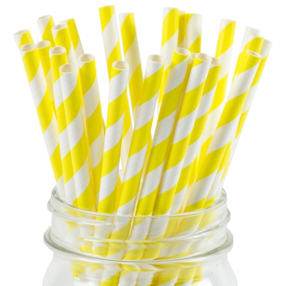 UNIQ® Yellow Striped Paper Straws