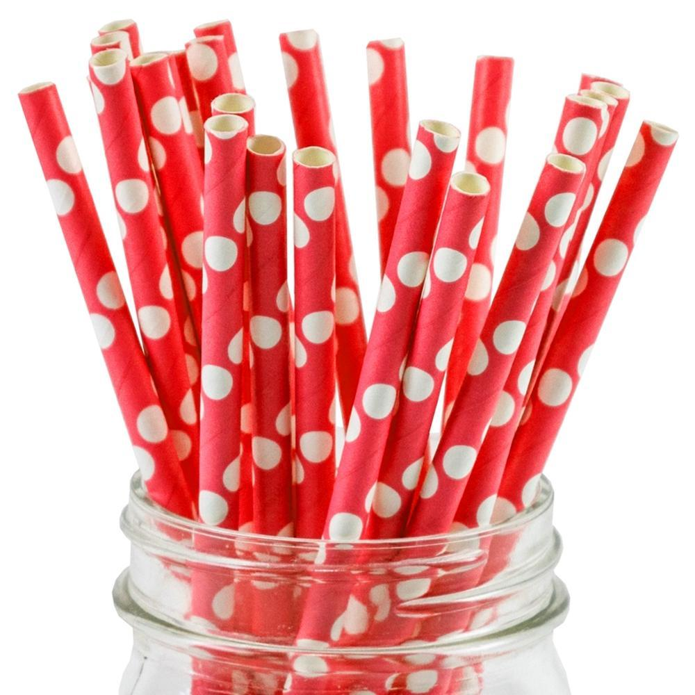 UNIQ® Red Polka Dot Paper Straws