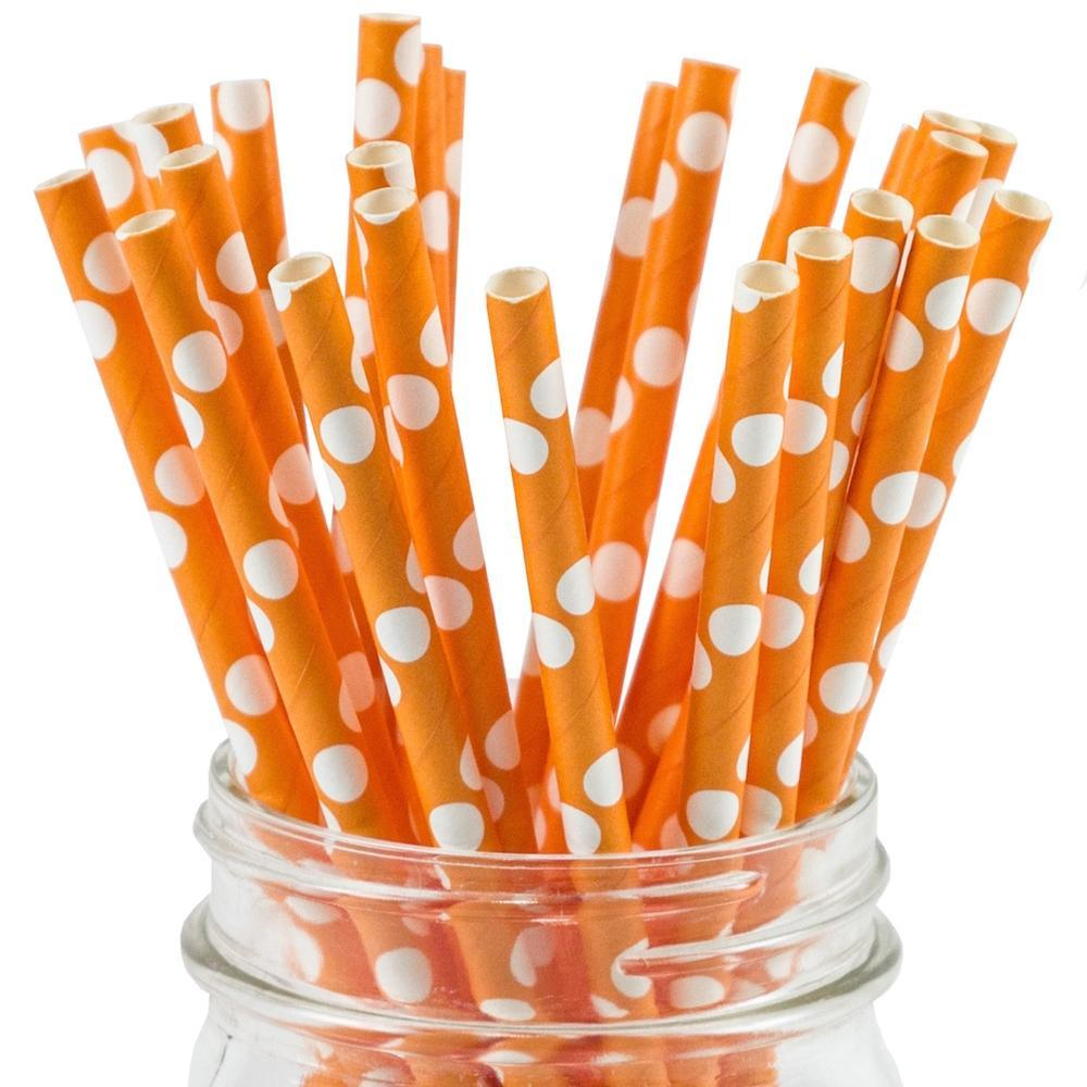 UNIQ® Orange Polka Dot Paper Straws