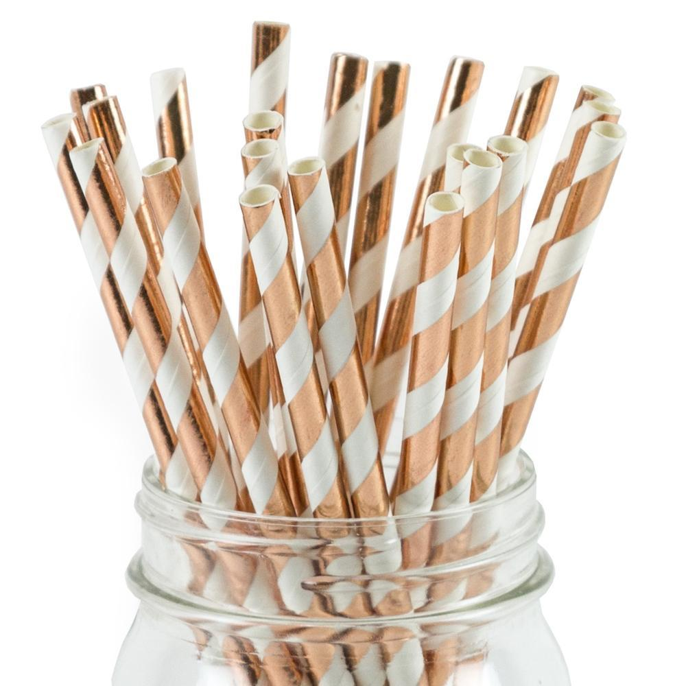 UNIQ® Rose Gold Striped Foil Paper Straws