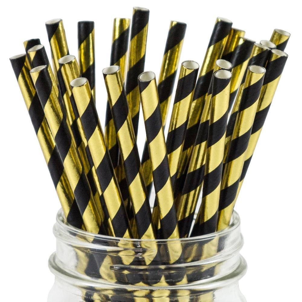 UNIQ® Black and Gold Striped Paper Straws