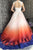 A-Line Scoop Open Back Sweep Train Ombre Wedding Dress with Appliques OHD010 | Cathyprom
