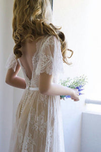 A-Line V-Neck Backless Sweep Train Light Champagne Lace Bohemian Wedding Dress OHD014 | Cathyprom