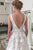 A-Line V-Neck Backless Sweep Train Ivory Wedding Dress with Embroidery OHD015 | Cathyprom