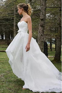 A-Line Sweetheart High Low Organza Beach Wedding Dress with Appliques OHD016 | Cathyprom