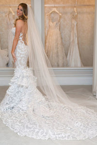 Mermaid Sweetheart Chapel Train Lace Sleeveless Wedding Dress with Ruffles OHD131 | Cathyprom