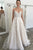 Elegant A-Line Spaghetti Straps Backless Sweep Train White Wedding Dress with Appliques OHD267