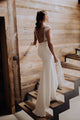 Sheath Bateau Cap Sleeves Sweep Train Lace Wedding Dress with Split OHD023 | Cathyprom