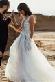 A-Line Deep V-Neck Sweep Train Wedding Dress with Appliques Split OHD024 | Cathyprom