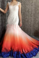 Mermaid Scoop Open Back Sweep Train Ombre Wedding Dress with Appliques Beading OHD025 | Cathyprom
