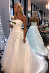 A-Line Strapless Sweep Train White Wedding Dress with Appliques OHD053 | Cathyprom
