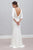 Sheath Bateau Backless 3/4 Sleeves Sweep Train Beach Wedding Dress OHD054 | Cathyprom