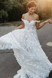Sleeveless A-Line Off-the-Shoulder Sweep Train Wedding Dress with Appliques OHD056 | Cathyprom