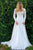 A-Line V-Neck Long Sleeves Sweep Train Wedding Dress with Appliques OHD066 | Cathyprom
