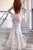 Sexy Mermaid Deep V-Neck Sweep Train Long Bell Sleeves White Split Lace Wedding Dress OHD228
