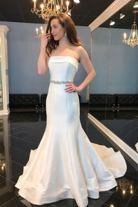 Simple Mermaid Strapless Sweep Train Satin Sleeveless Long Wedding Dress with Beading OHD240