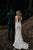 Mermaid V-Neck Cap Sleeves Backless Sweep Train Lace Wedding Dress Bohemian Wedding Dress OHD239