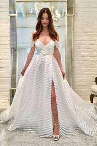 A-Line Off-the-Shoulder Sweep Train Organza Beach Wedding Dress with Split OHD248