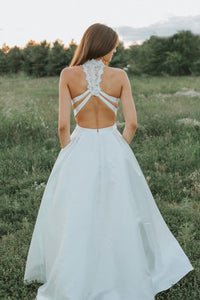 Two Piece Jewel Open Back Lace Top Floor Length Wedding Dress with Beading Pockets OHD249