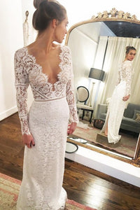 Mermaid V-Neck Long Sleeves Floor-Length Lace Wedding Dress with Split OHD250