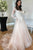 A-Line Bateau Long Sleeves Pearl Pink Appliqued Wedding Dress Bridal Gown with Pockets OHD247