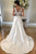 A-Line V-Neck Sweep Train Appliqued Sleeveless Satin Wedding Dress with Pockets OHD114 | Cathyprom