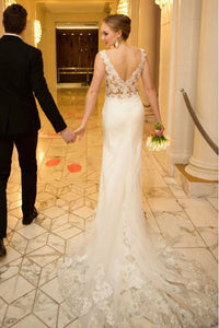 Mermaid/Trumpet V-Neck Sweep Train Appliqued Long Tulle Wedding Dress Bridal Gown OHD244
