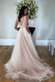 A-Line V-Neck Backless Sleeveless Sweep Train Tulle Wedding Dress with Pockets OHD115 | Cathyprom