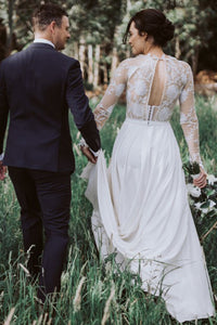 Romantic A-Line Jewel Open Back Long Sleeves Floor-Length Appliqued Beach Wedding Dress OHD268
