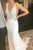 Mermaid V-Neck Backless Sweep Train Lace Bohemian Wedding Dress with Split OHD263