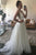 Simple A-Line V-Neck Backless Sweep Train White Chiffon Beach Wedding Dress OHD262