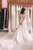 Charming A-Line V-Neck Backless Sweep Train Pearl Pink Appliqued Beach Wedding Dress OHD265