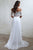Two Piece Off-the-Shoulder White Chiffon Short Sleeves Beach Wedding Dress with Lace OHD117  | Cathyprom