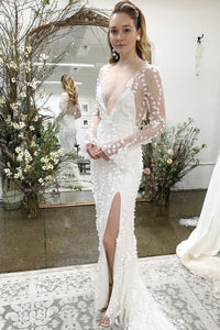 Mermaid V-Neck Long Sleeves Sweep Train Lace Bohemian Wedding Dress with Split OHD269