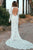 Mermaid V-Neck Long Sleeves Open Back White Lace Wedding Dress OHD252
