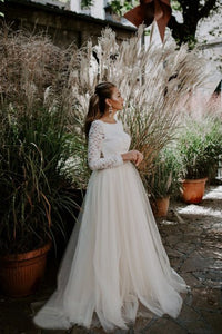A-Line Round Neck Long Sleeves Open Back Wedding Dress with Lace OHD258