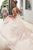 A-Line V-Neck Backless Sweep Train Pink Wedding Dress with Appliques OHD255
