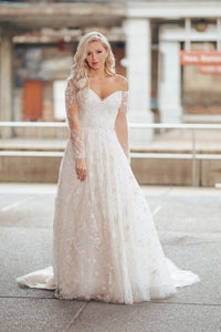 A-Line Off-the-Shoulder Long Sleeves Appliqued Wedding Dress with Beading OHD253