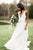 Cheap A-Line V-Neck Sweep Train White Chiffon Beach Wedding Dress with Beading OHD266