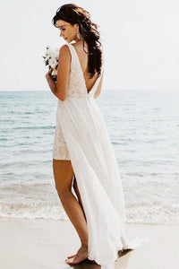 A-Line V-Neck Backless Detachable Train Sequined Beach Wedding Dress OHD028 | Cathyprom