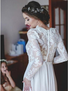 A-Line V-Neck Long Sleeves Sweep Train Chiffon Wedding Dress with Lace OHD033 | Cathyprom