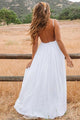 A-Line Spaghetti Straps Backless Chiffon Beach Wedding Dress with Lace OHD039 | Cathyprom
