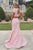 Modern Jewel Open Back Sweep Train Pink Two Piece Mermaid Prom Dress with Pearls LPD42 | Cathyprom