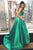 Two Piece Straps Sweep Train Hunter Satin Sleeveless Prom Dress with Pockets OHC038 | Cathyprom