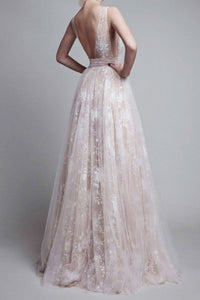 A-Line Deep V-Neck Long Backless Champagne Tulle Prom Dress with Lace OHC096 | Cathyprom